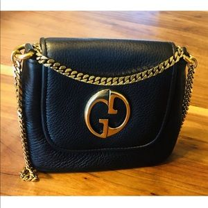 GUCCI Calfskin Small 1973 Chain Shoulder Bag Black